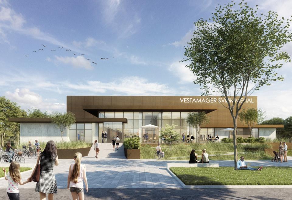 Erik-Nord-Arkitekt-Vestamager-Svømmehal-Tårnby-Kommune-Arkitekter-Arkitektkonkurrence-Ankomst-Visualisering