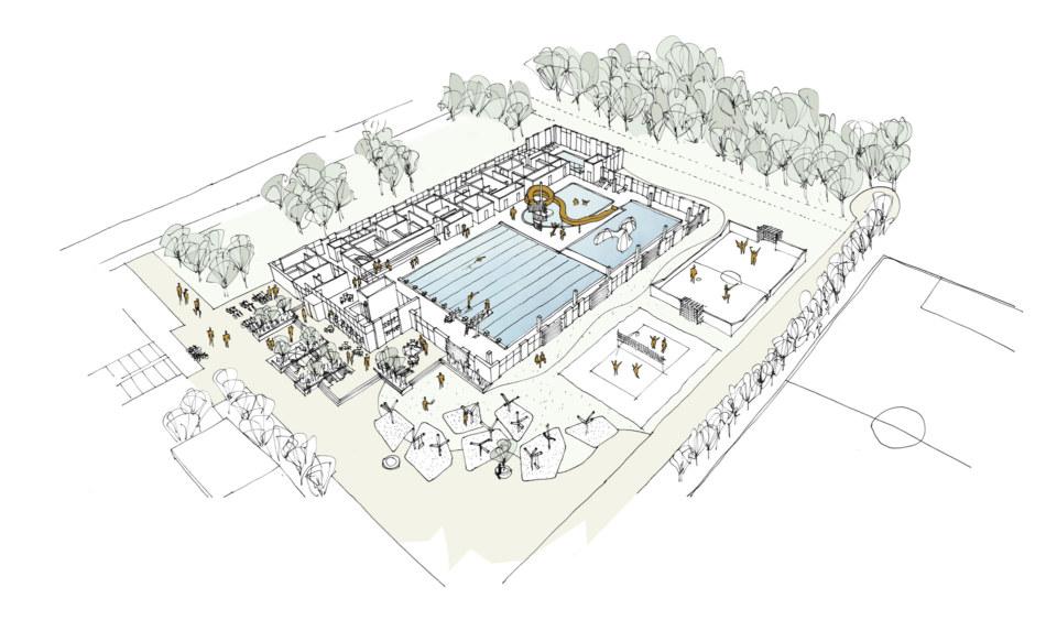 Erik-Nord-Arkitekt-Vestamager-Svømmehal-Tårnby-Kommune-Arkitekter-Arkitektkonkurrence-Birdseye-Visualisering-Tegning