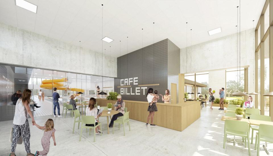 Erik-Nord-Arkitekt-Vestamager-Svømmehal-Tårnby-Kommune-Arkitekter-Arkitektkonkurrence-Cafe-Foyer-Visualisering