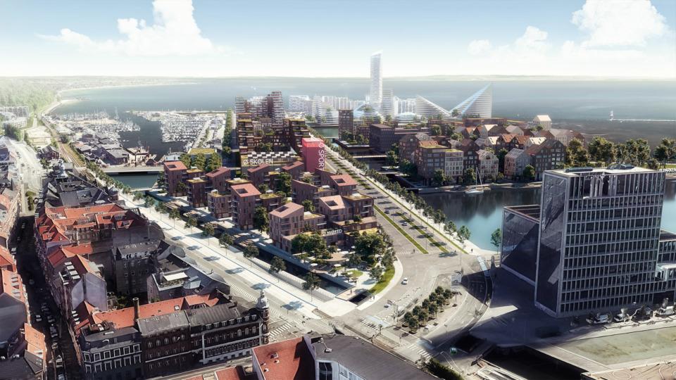 Erik-Nord-Arkitekt-Aarhus-Visualisering-Helhedsplan-Havn-Haengslet-AarhusOe-Bestseller