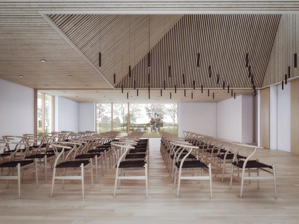 Erik-Nord-Arkitekter-Kræftensbekæmpelse-Aarhus-Skejby-genbrugstegl-vindlæ-interiør-multisal-01-web