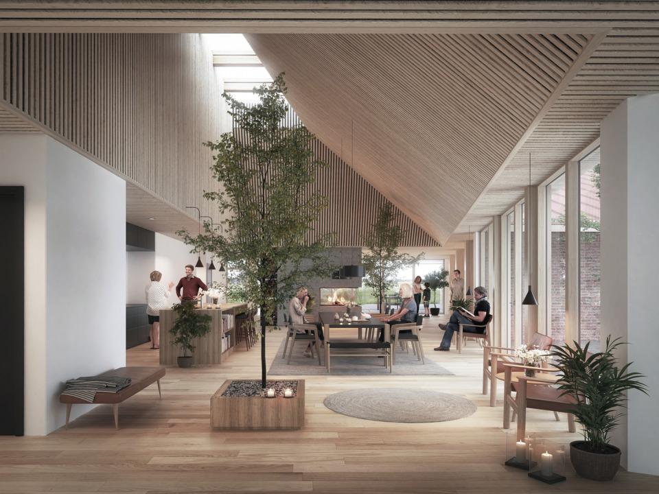 Erik-Nord-Arkitekter-Kræftensbekæmpelse-Aarhus-Skejby-genbrugstegl-vindlæ-interiør-samlingsrum-01-web